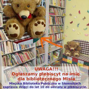 Wakacyjny plebiscyt na imię dla bibliotecznego Misia
